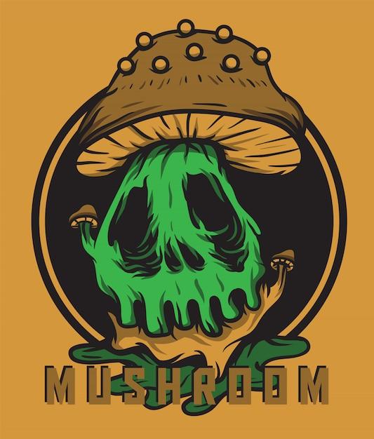 Ilustração em vetor crânio cabeça cogumelo monstro Vetor Premium