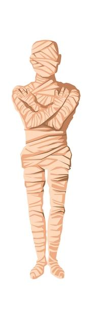 Ilustração em vetor criação múmia dos desenhos animados. fase do processo de mumificação, embalsamando o cadáver, envolvendo-o com um pano. tradições do antigo egito, culto aos mortos Vetor grátis