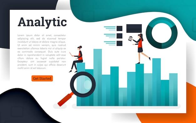 Ilustração em vetor de análise de dados e pesquisa de informações de negócios Vetor Premium