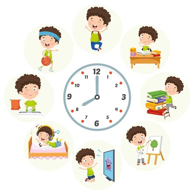 Ilustração em vetor de atividades de rotina diária de crianças Vetor Premium