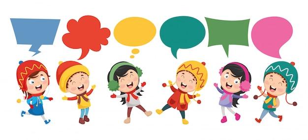 Ilustração em vetor de bolha de discurso de crianças Vetor Premium