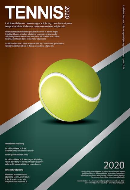 Ilustração em vetor de cartaz de campeonato de tênis Vetor Premium