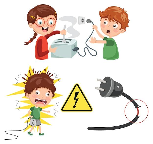 Ilustração em vetor de choque elétrico de crianças Vetor Premium