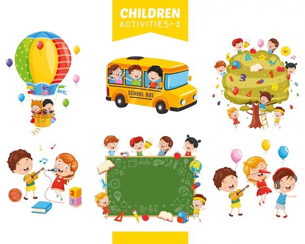 Ilustração em vetor de conjunto de atividades de crianças Vetor Premium