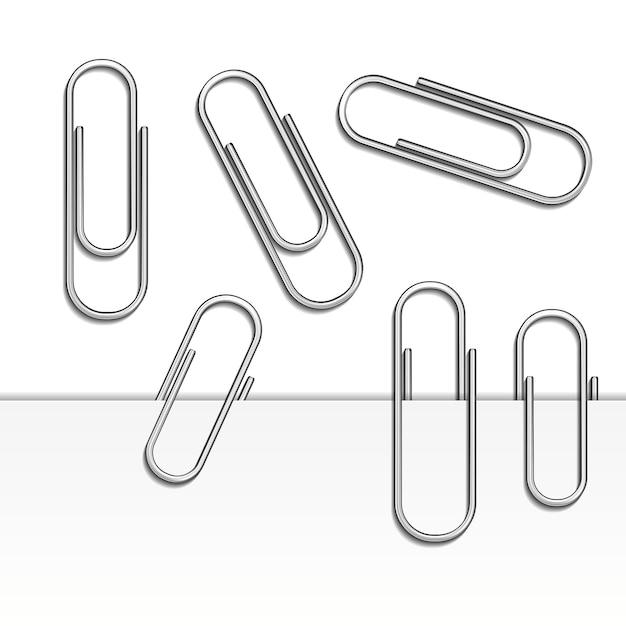Ilustração em vetor de conjunto de clipes de papel isolado e com sombra no papel Vetor grátis