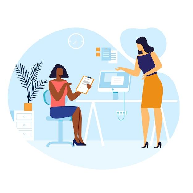 Ilustração em vetor de conversa de colegas do sexo feminino Vetor Premium
