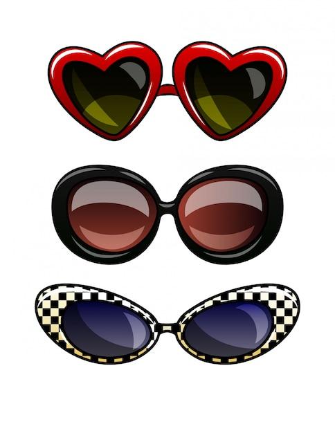 Ilustração em vetor de cor de óculos em armação de plástico. conjunto de óculos de sol vintage com lentes escuras. óculos de olho de gato, óculos redondos, óculos em forma de um coração isolado Vetor Premium