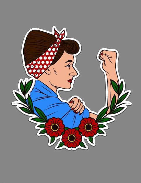 Ilustração em vetor de cor para impressão em camisetas. linda mulher mostra um punho em protesto. projete o retrato da etiqueta de uma mulher em estilo vintage com enfeite de flor. conceito de tatuagem feminista feminina Vetor Premium
