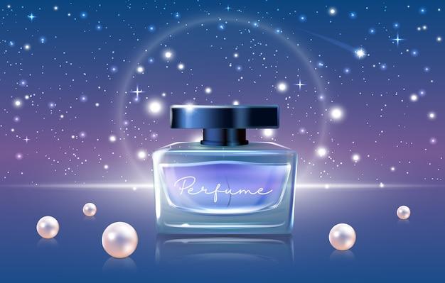 Ilustração em vetor de cosméticos de perfume azul, anúncios realistas de perfume de luxo em 3d projetam promoção com maquete de frasco de frasco de vidro, céu noturno e pérolas Vetor Premium