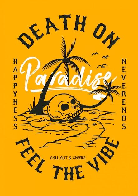 Ilustração em vetor de crânio na praia tropical Vetor Premium