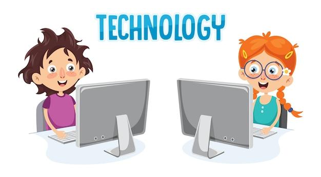 Ilustração em vetor de criança com computador Vetor Premium