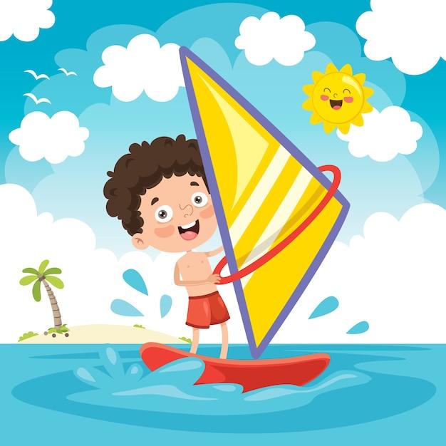 Ilustração em vetor de criança windsurf Vetor Premium