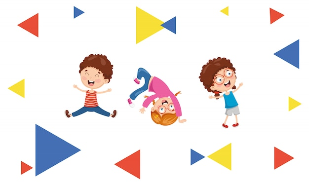 Ilustração em vetor de crianças abstrato Vetor Premium