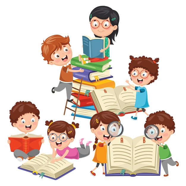Ilustração em vetor de crianças brincando de escola Vetor Premium