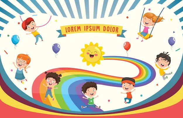 Ilustração em vetor de crianças do arco-íris Vetor Premium