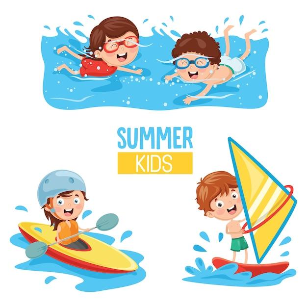 Ilustração em vetor de crianças fazendo esportes aquáticos Vetor Premium