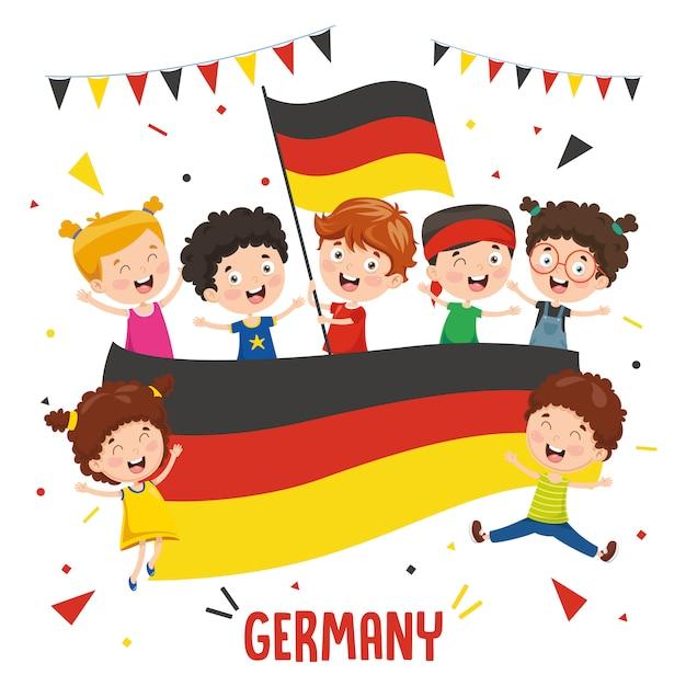 Ilustração em vetor de crianças segurando a bandeira da alemanha Vetor Premium