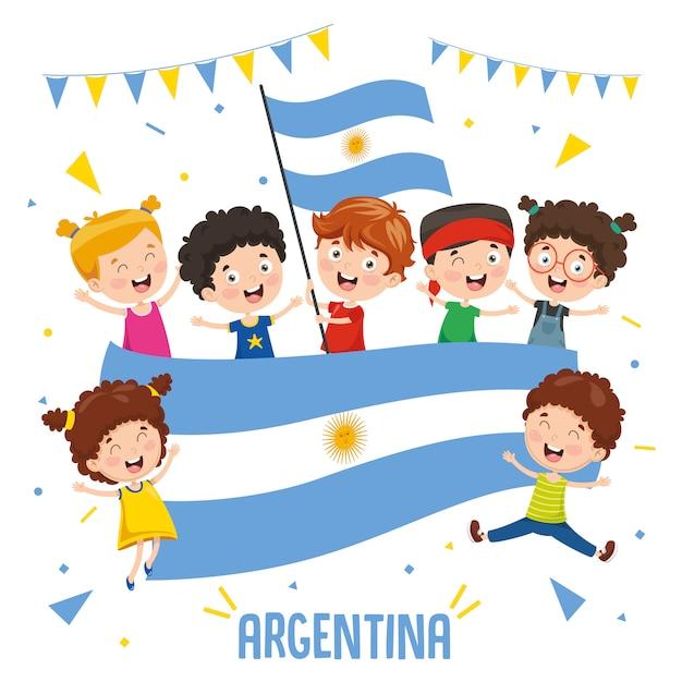 Ilustração em vetor de crianças segurando a bandeira da argentina Vetor Premium
