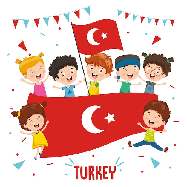 Ilustração em vetor de crianças segurando a bandeira da turquia Vetor Premium