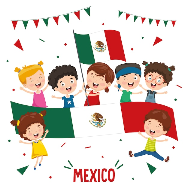 Ilustração em vetor de crianças segurando a bandeira do méxico Vetor Premium