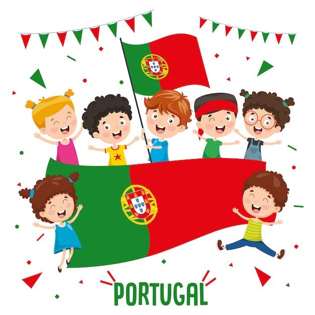 Ilustração em vetor de crianças segurando bandeira de portugal Vetor Premium