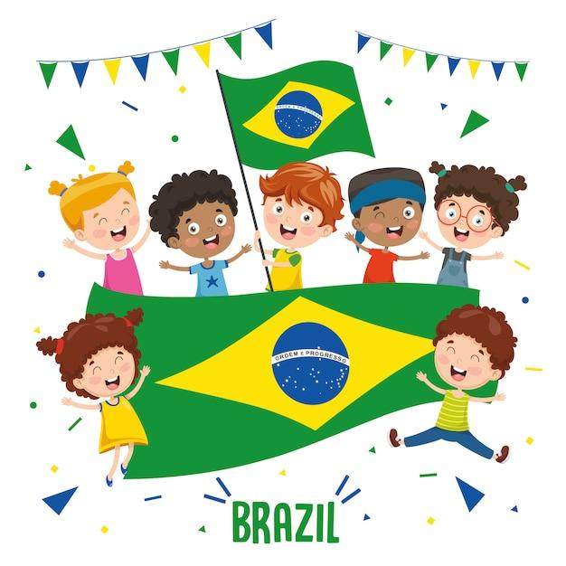 Ilustração em vetor de crianças segurando bandeira do brasil Vetor Premium
