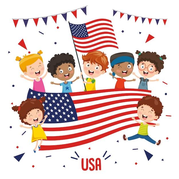Ilustração em vetor de crianças segurando bandeira eua Vetor Premium