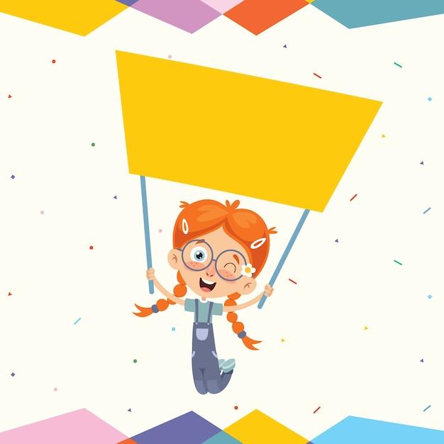 Ilustração em vetor de crianças segurando cartaz Vetor Premium