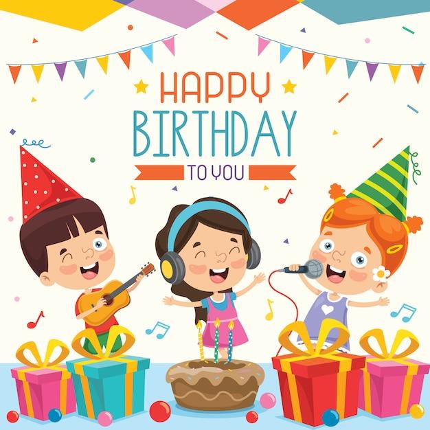 Ilustração em vetor de design de cartão de convite de festa de aniversário de crianças Vetor Premium