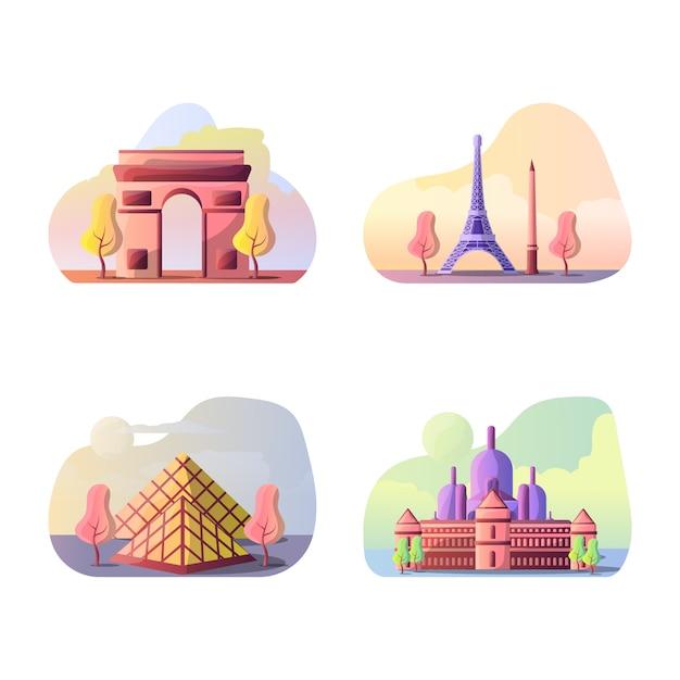 Ilustração em vetor de destinos turísticos franceses Vetor Premium