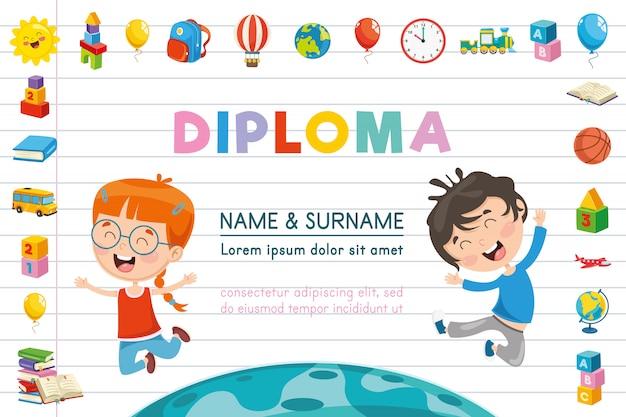 Ilustração em vetor de diploma de crianças Vetor Premium