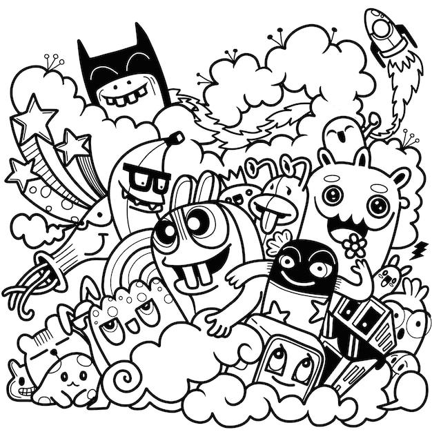 Ilustração em vetor de doodle fofo, doodle conjunto de monstro engraçado Vetor Premium