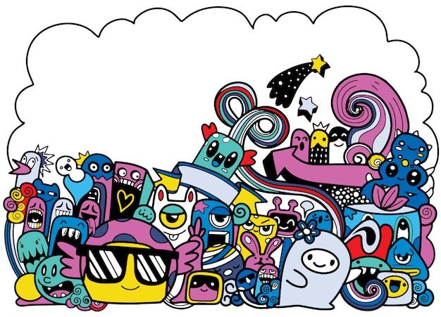 Ilustração em vetor de doodle monstro bonito com copyspace, mão desenhando doodle Vetor Premium