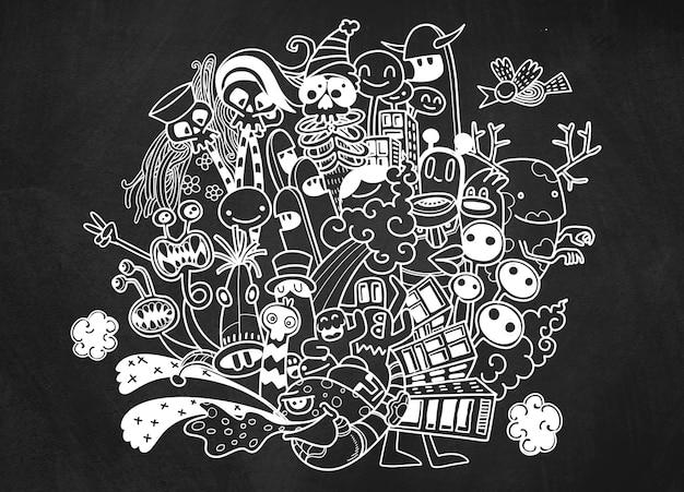 Ilustração em vetor de doodle monstro bonito, mão desenhando doodle Vetor Premium