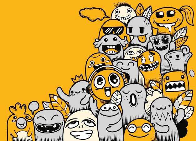 Ilustração em vetor de doodle monstro fofo com espaço de cópia Vetor Premium