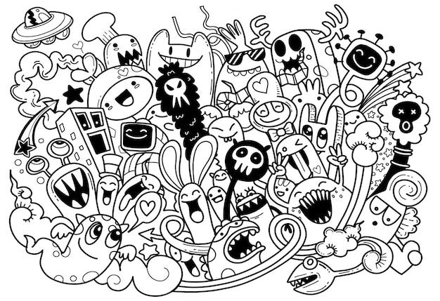 Ilustração em vetor de doodle monstro fofo, estilo cartoon Vetor Premium