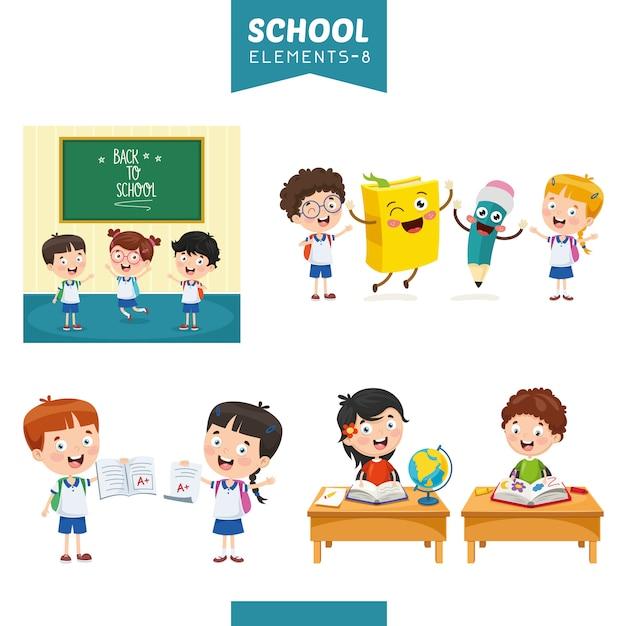 Ilustração em vetor de elementos de educação Vetor Premium