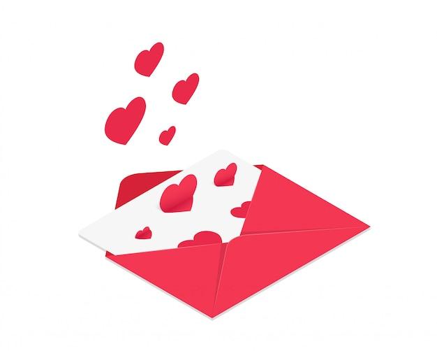 Ilustração em vetor de envelope isométrico vermelho com corações subindo. Vetor Premium