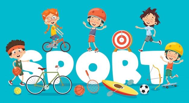 Ilustração em vetor de esporte de crianças Vetor Premium