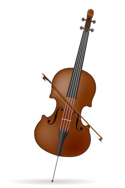 Ilustração em vetor de estoque de violoncelo Vetor Premium
