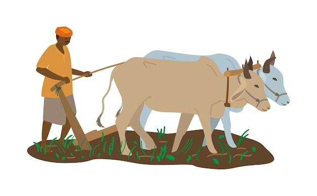 Ilustração em vetor de fazendeiro indiano em turbante com par de bois arando o campo Vetor Premium