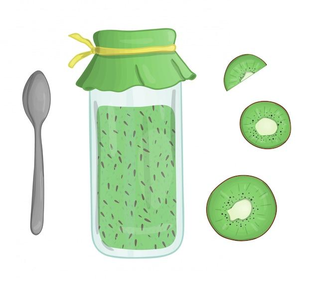 Ilustração em vetor de frasco colorido com geléia de kiwi. pedaço de kiwi, pote com geléia, colher isolado. efeito aquarela Vetor Premium