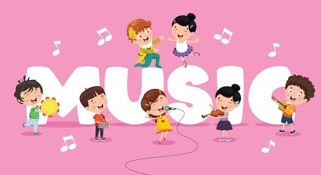 Ilustração em vetor de fundo de música de crianças Vetor Premium