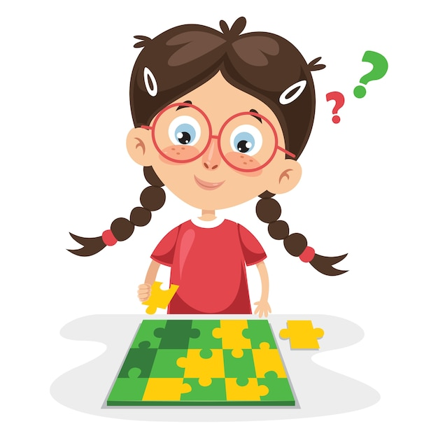 Ilustração em vetor de garoto jogando quebra-cabeça Vetor Premium