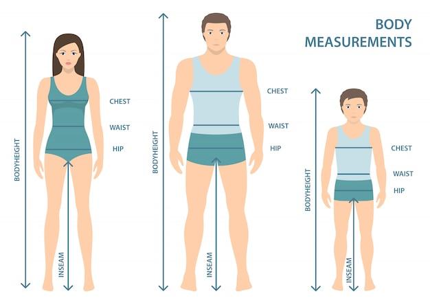 Ilustração em vetor de homem, mulher e menino de corpo inteiro com linhas de medição dos parâmetros do corpo. medidas de tamanhos de homem, mulher e criança. medidas e proporções do corpo humano. design plano. Vetor Premium