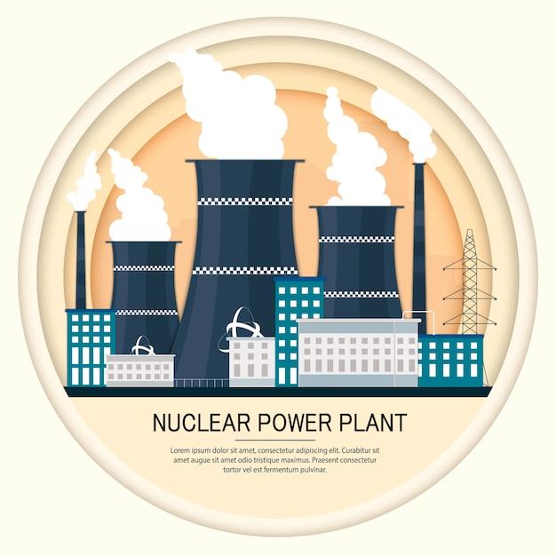Ilustração em vetor de ícone de fábrica de usina nuclear com skyline de arranha-céus urbano da cidade Vetor Premium