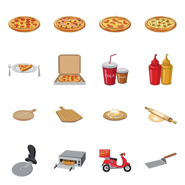 Ilustração em vetor de ícone de pizza e comida. coleção de pizza e itália estoque símbolo para web Vetor Premium