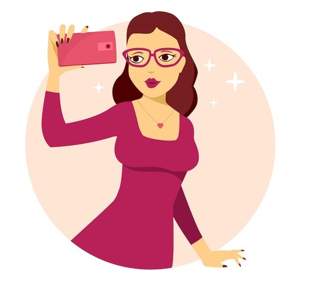 Ilustração em vetor de jovem com vestido vermelho faz selfie foto em fundo rosa. Vetor Premium