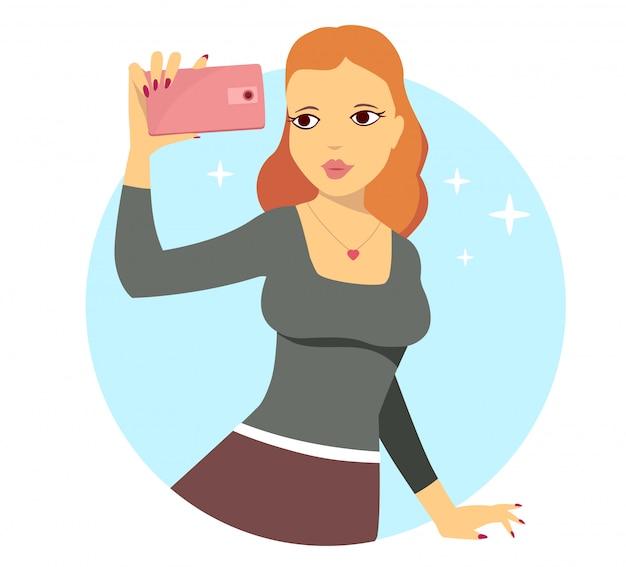 Ilustração em vetor de jovem fazendo selfie foto sobre fundo azul. Vetor Premium