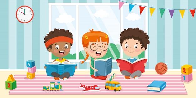 Ilustração em vetor de livro de leitura de crianças Vetor Premium